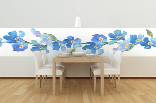 lé de tapisserie déco salle a manger fleurs bleus