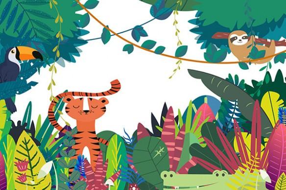 papier peint chambre enfant jungle