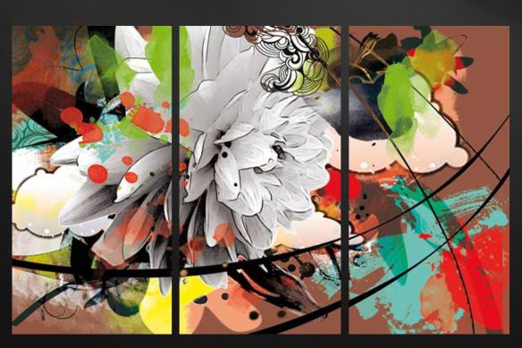 tableaux multi panneaux fleur été marron