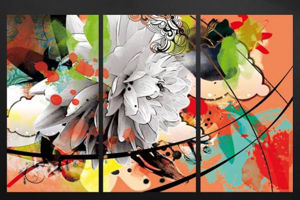 cadre mural triptyque fleur été orange