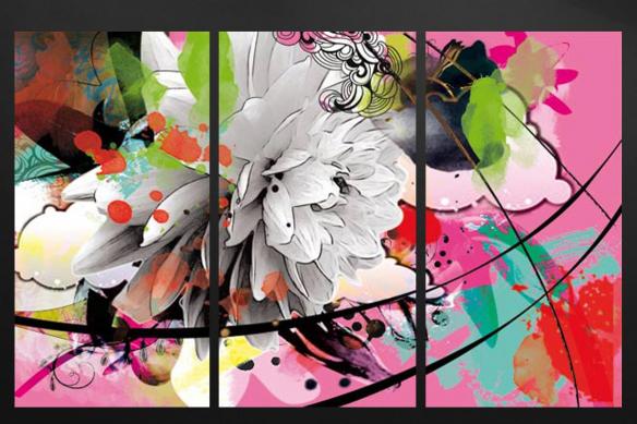 triptyque moderne fleur été rose