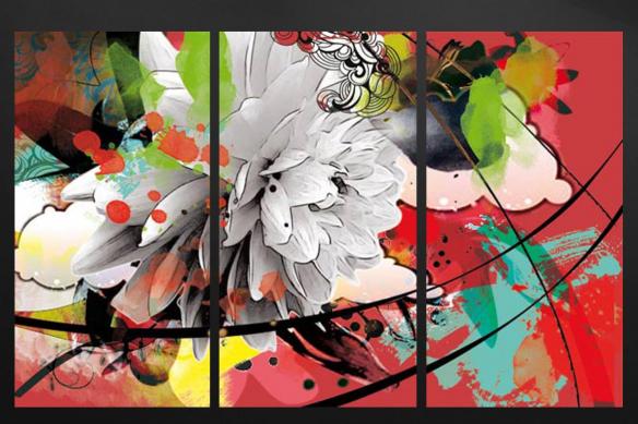 tableau triptyque design fleur été rouge