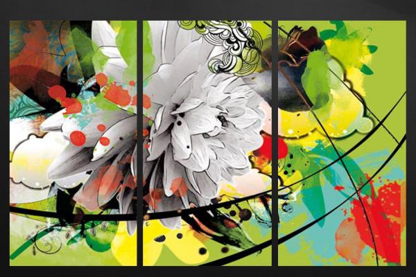 tableau triptyque fleur d'été