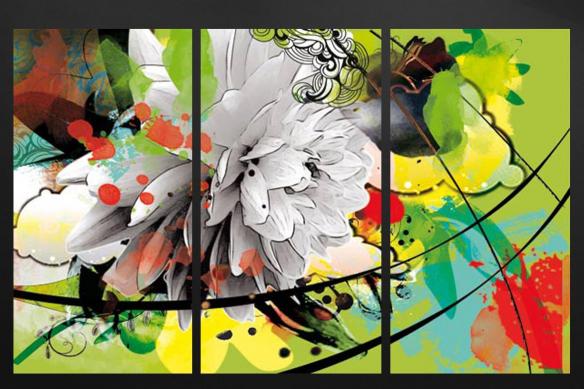 toile triptyque fleur été vert