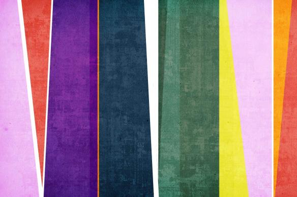 déco rétro tableau vintage bandes colorées