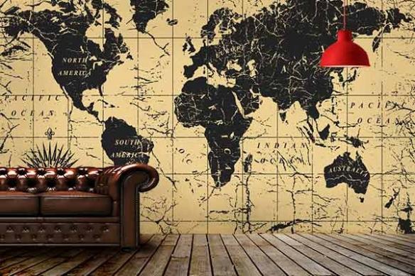 deco salon vintage papier peint planisphère usé