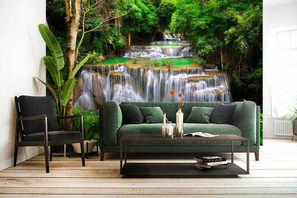 papier peint jungle tropicale cascade