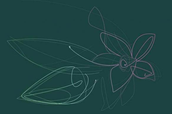déco mur Tableau Fleur de Vanille cyan