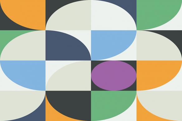 toile rétro formes géométriques