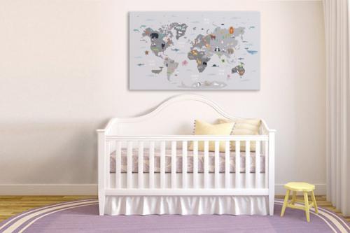 Tableau carte du monde chambre enfant Animaux