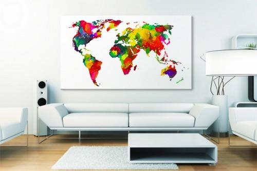 Toile carte du monde Le monde en couleurs