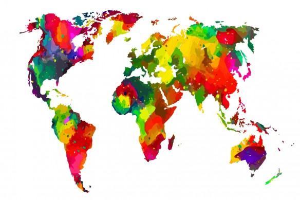 tableau coloré planisphère le monde en couleurs
