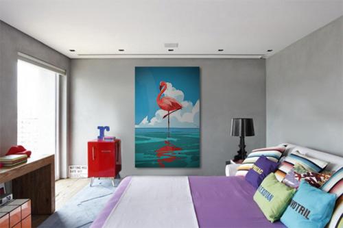 Tableau oiseau Flamant rose portrait