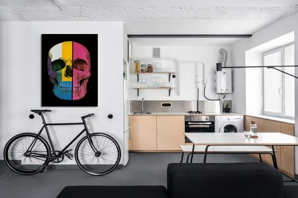 Tableau tête de mort crâne couleurs