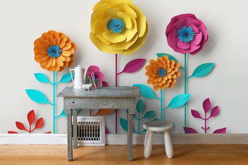 déco scandinave papier peint grosses fleurs