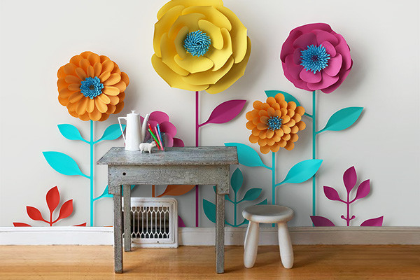 papier peint fleuri grosses fleurs scandinaves. Black Bedroom Furniture Sets. Home Design Ideas