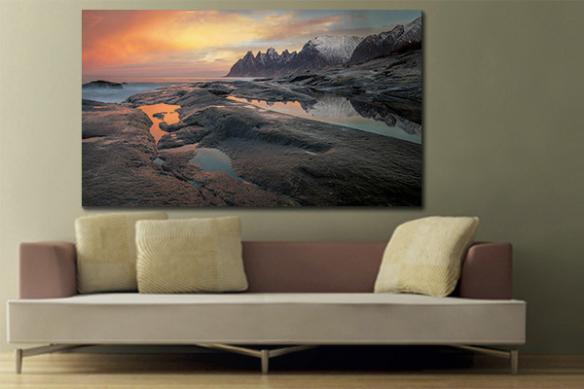 Tableau paysage montagne ciel rose