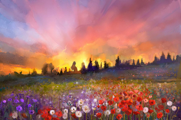 tableau sur toile paysage nature champs fleuri