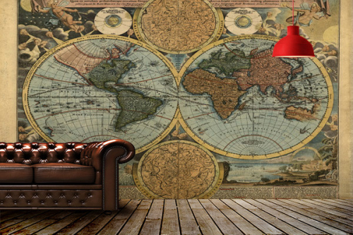 deco salon vintage mappemonde encyclopedie