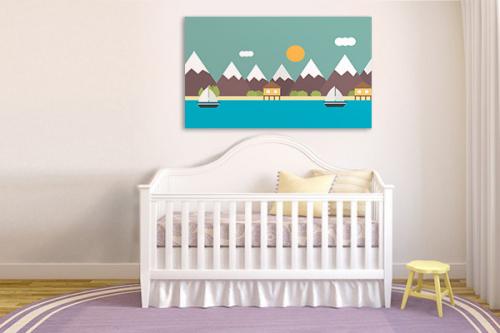 Tableau mer et montagnes pour enfant