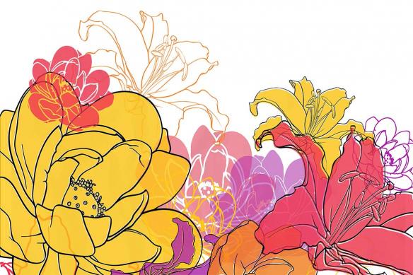 tableau toile éclat de fleurs