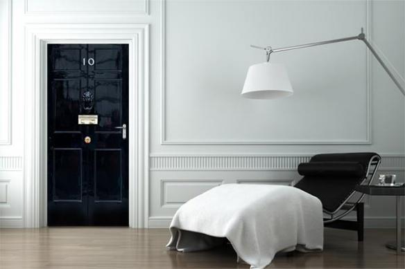 Sticker porte noir trompe l'œil Downing Street