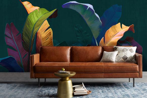 deco-salon-tropical-papier-peint-feuillage-colore