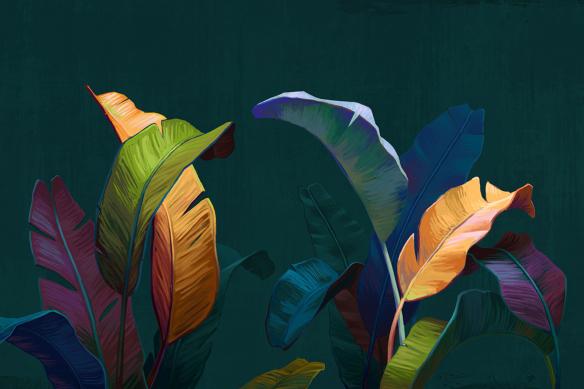 tableau sur toile feuillage coloré