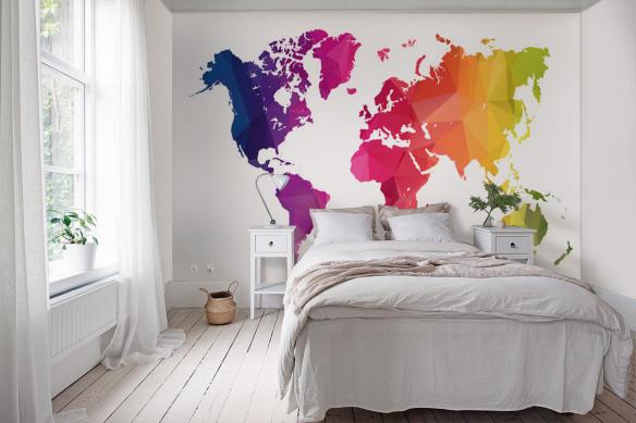 Papier peint carte du monde Happy world