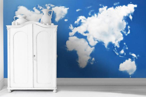 décoration murale chambre bleu papier peint carte du monde nuage