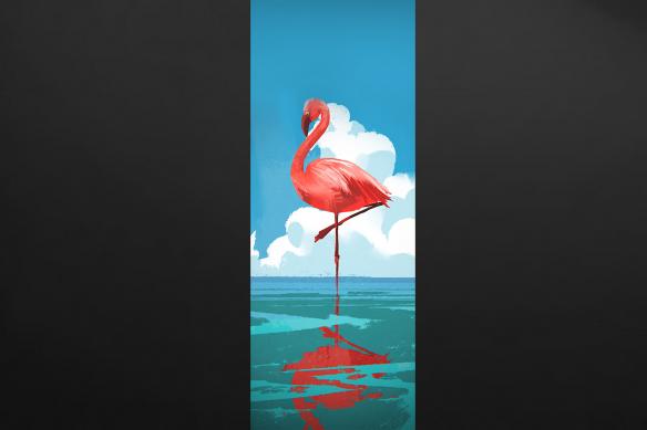 papier peint flamant rose