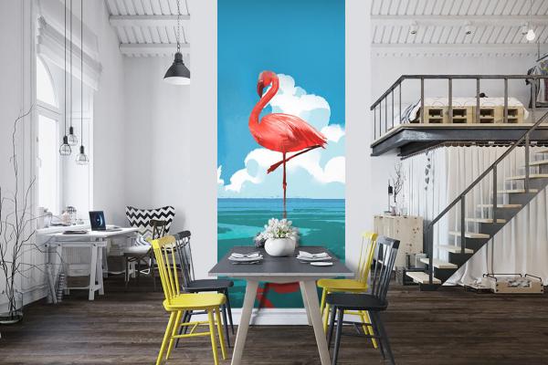 papier peint flamant rose l unique d co murale exotique. Black Bedroom Furniture Sets. Home Design Ideas