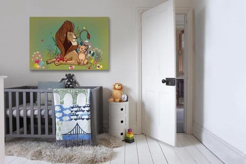 Tableau lion et lionceau pour enfant