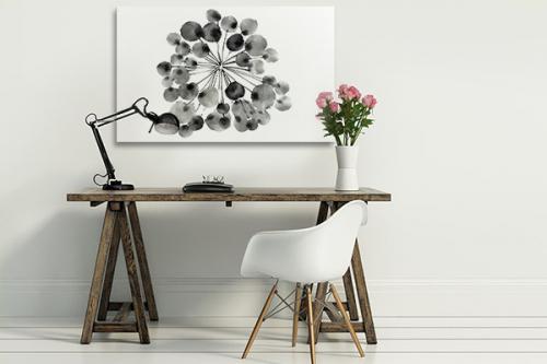 décoration minimaliste noir et blanc toile pissenlit abstrait