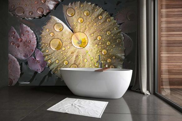 Papier peint pour salle de bain Feuille de nénuphar