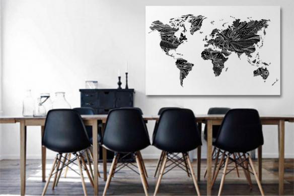 Tableau carte du monde noir et blanc Floral