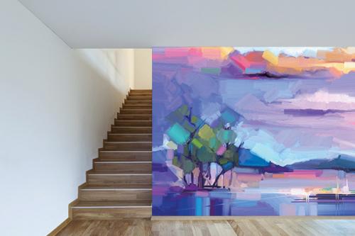 papier peint couloir paysage violet