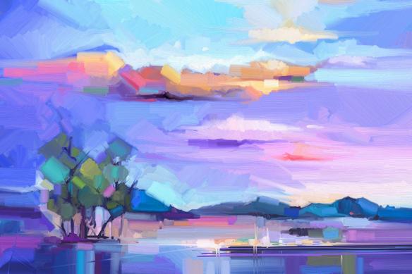 papier peint paysage violet