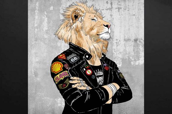 toile-moderne-lion-fier-avec-une-veste-en-cuir