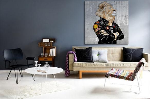 decoration salon contemporain fier comme un lion