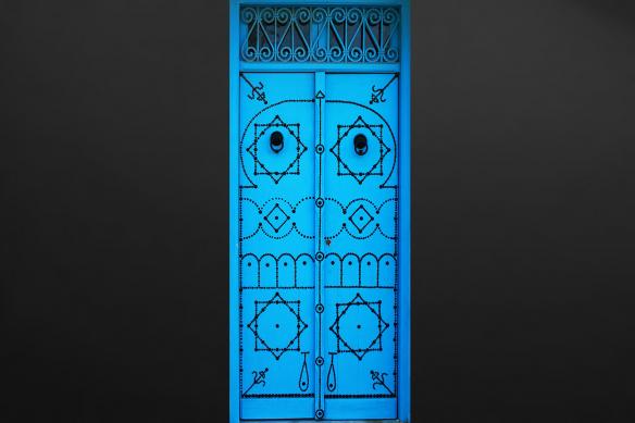 déco orientale sticker porte bleu