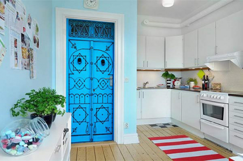 deco-porte-trompe-oeil-porte orientale bleue