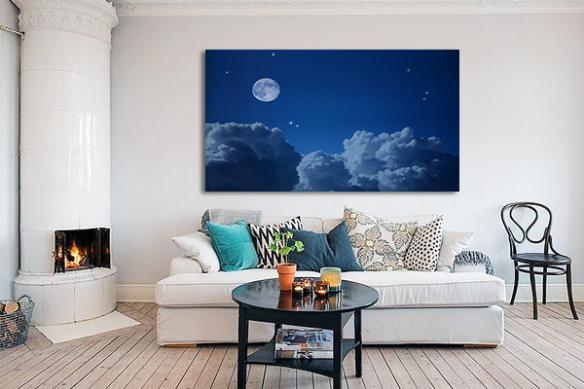 Tableau bleu nuage et lune