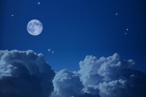 décoration murale bleu toile nuage et lune