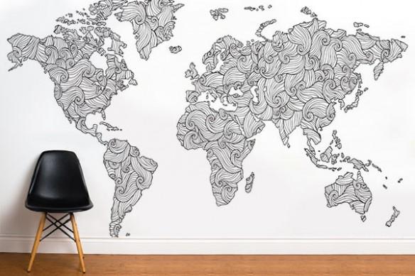 Papier peint carte du monde noir et blanc Doodle