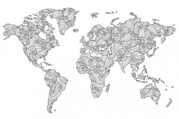 papier peint mappemonde doodle