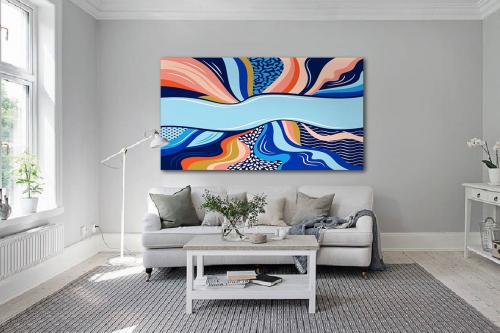 Grand tableau bleu Vibration