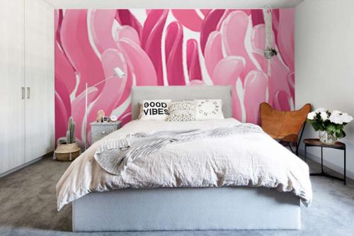 Papier peint rose pour chambre moderne