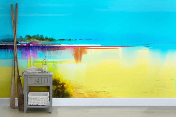 Papier peint motif horizon abstrait