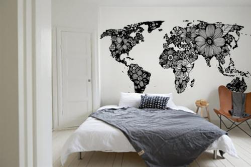 Papier peint carte du monde noir et blanc Fleurs